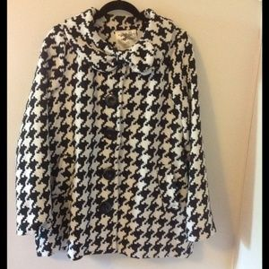 Nick & Mo Houndstooth Bow Black White Check Coat L